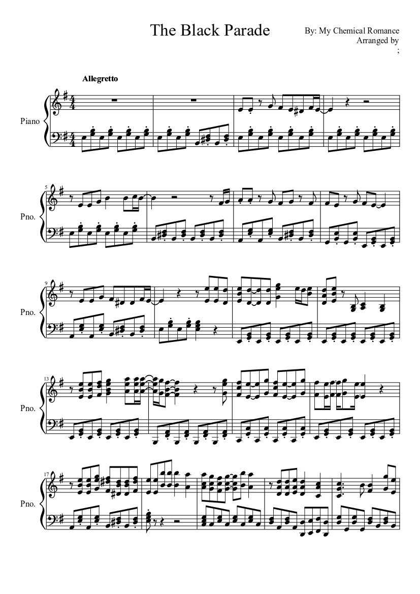 My chemical romance sheet music for flute download free in pdf or midi.