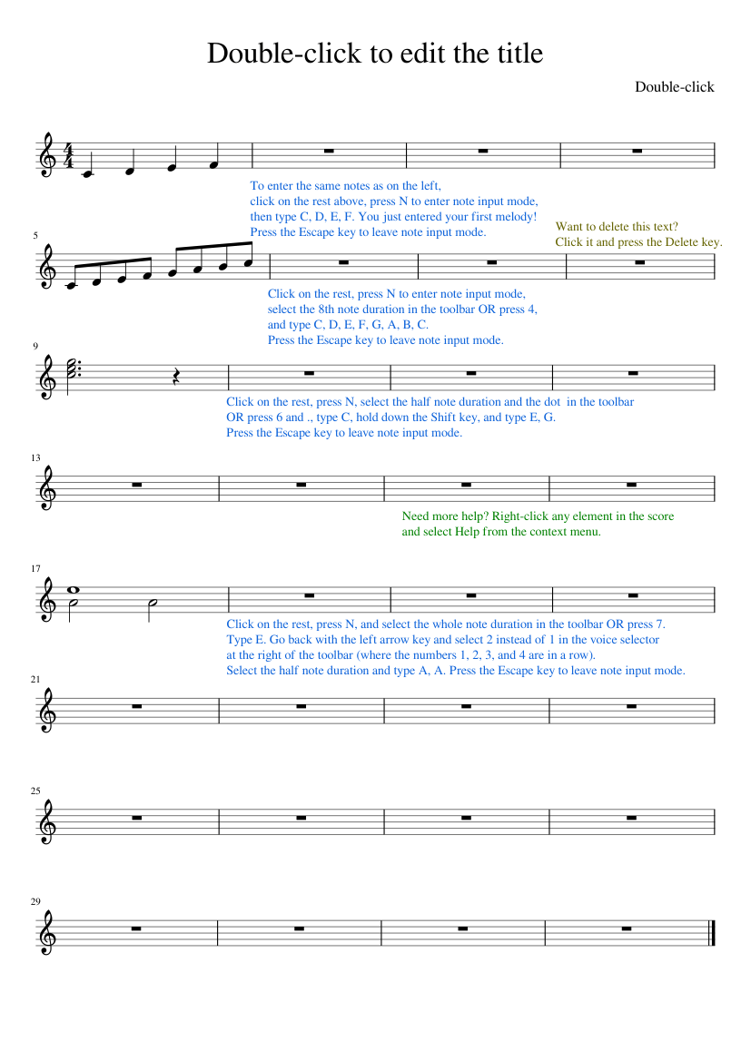 Double Click To Edit The Title Sheet Music For Piano Solo Musescore Com