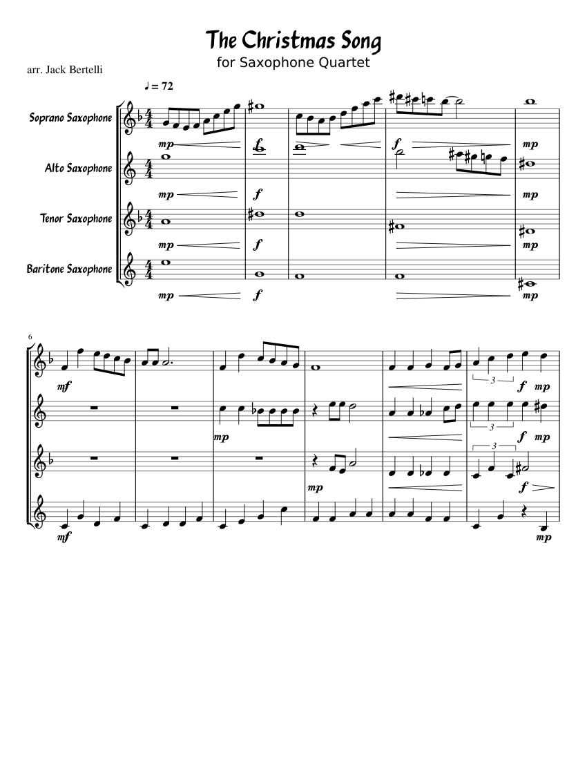 The Christmas Song for Saxophone Quartet sheet music for Soprano Saxophone, Alto Saxophone ...
