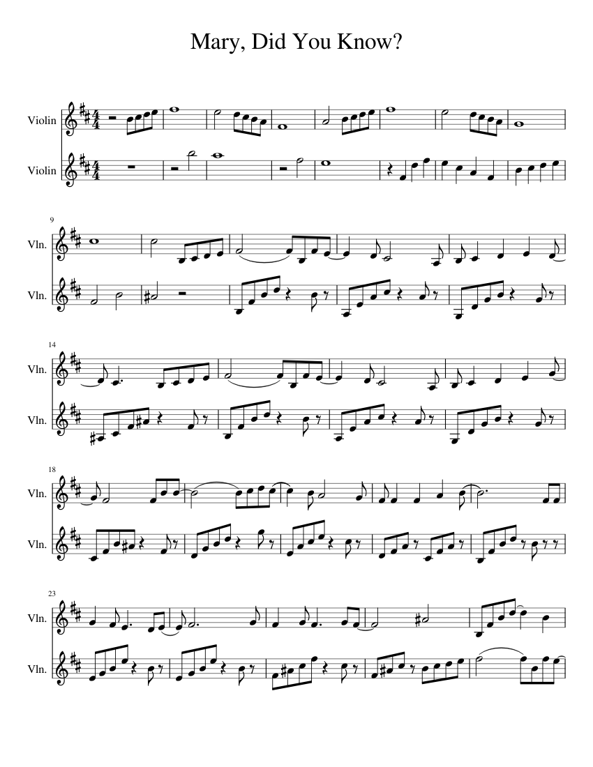 Mary Did You Know Sheet Music For Violin String Duet Musescore Com