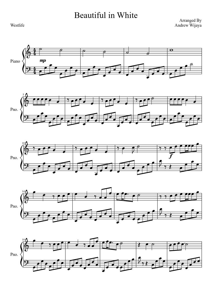 Beautiful In White Sheet Music | Boyzone | Piano, Vocal ...