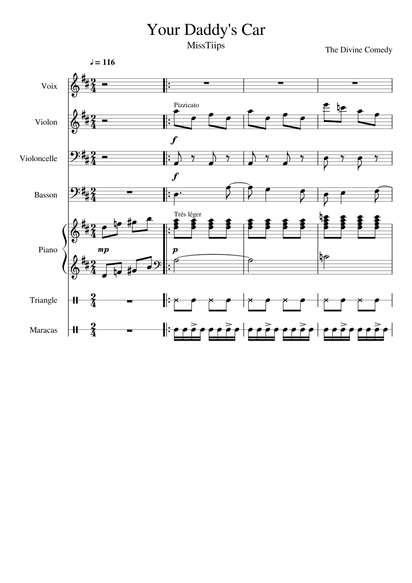 Your Daddy S Car The Divine Comedy Sheet Music For Violin Piano