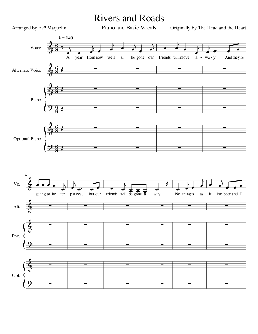 Rivers and Roads Sheet music for Piano, Vocals Mixed Quartet ...