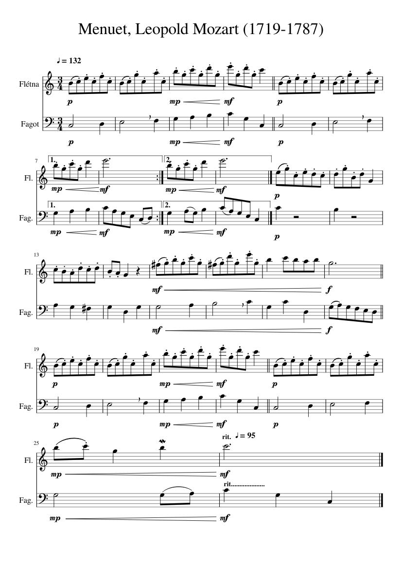 Menuet_v01, Leopold Mozart (1719-1787) - piano tutorial