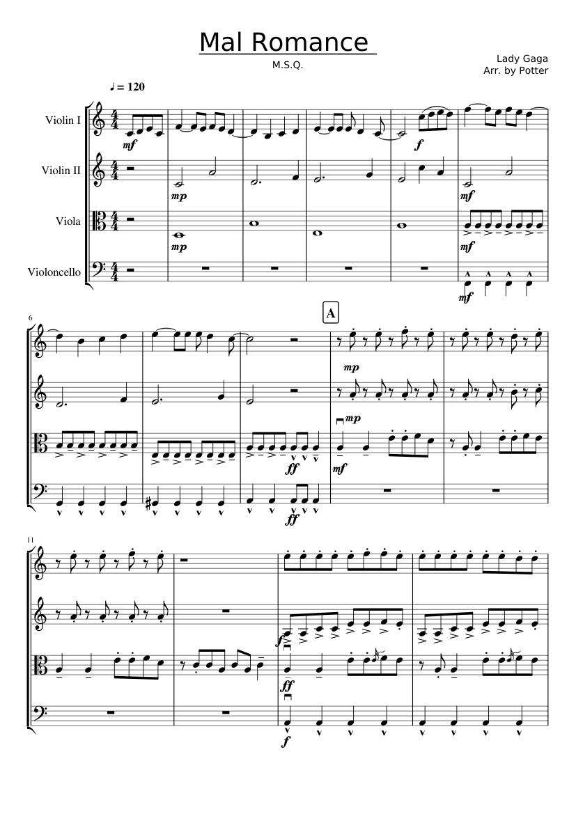 bad romance lady gaga sheet music for violin, cello, viola (string quartet)    musescore.com  musescore.com