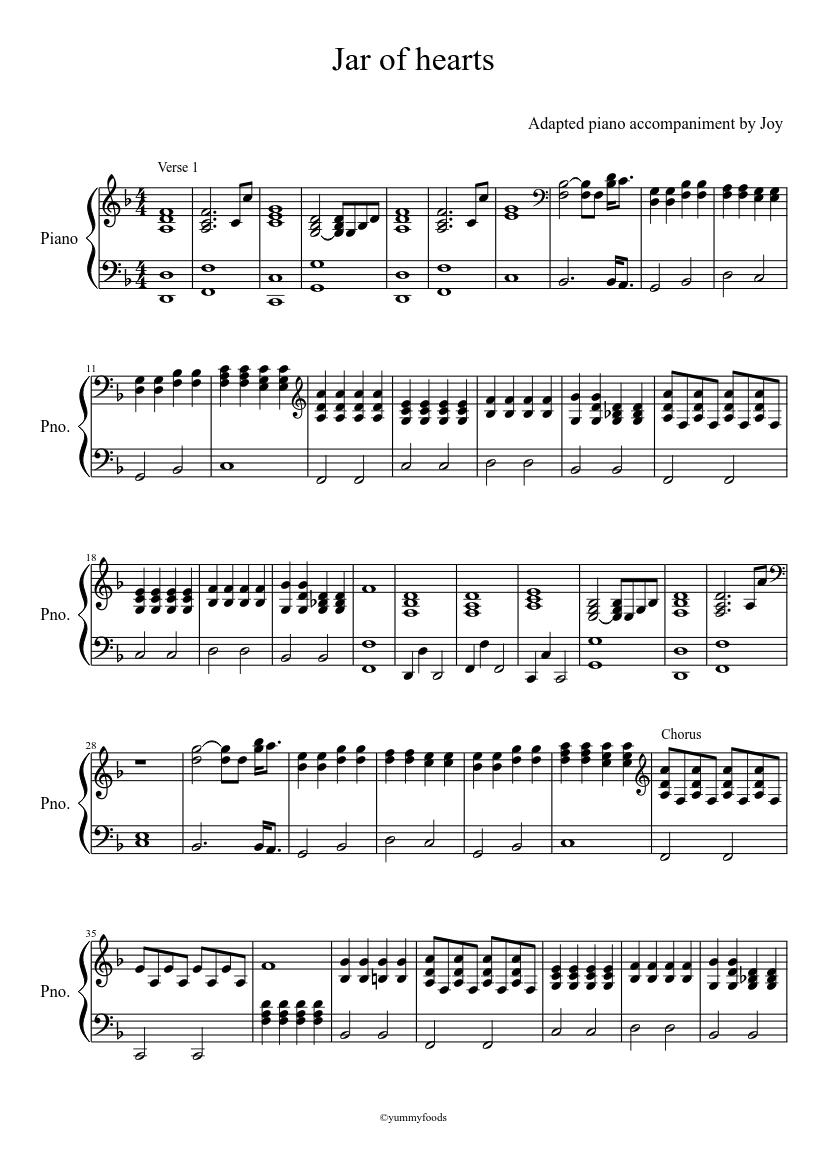 jar of hearts klaviernoten