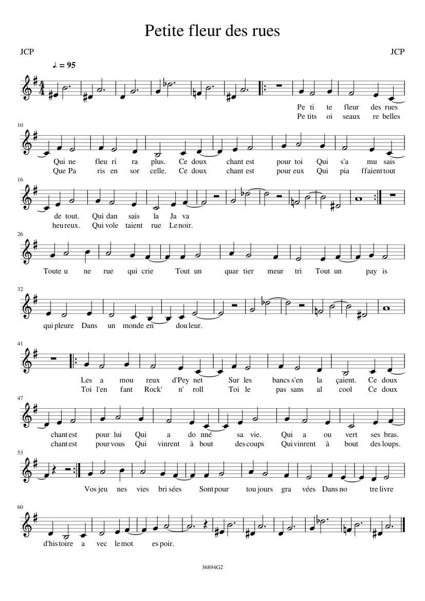 Petite Fleur Des Rues Sheet Music For Piano Download Free In Pdf Or Midi
