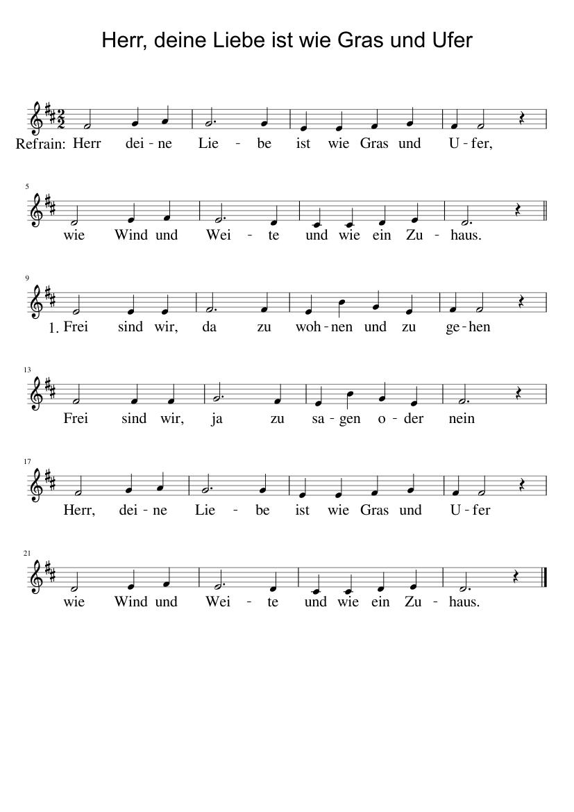 Herr, deine Liebe ist wie Gras und Ufer sheet music for