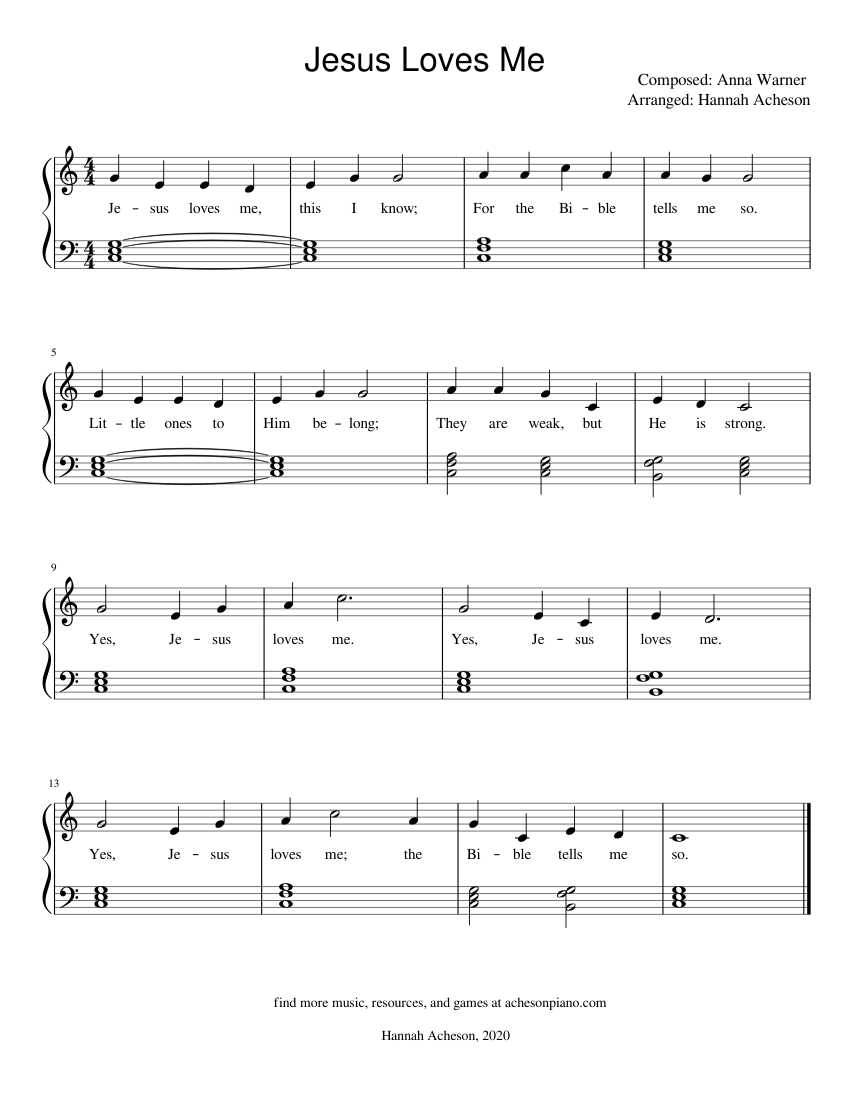 jesus loves me (easy piano, key of c) sheet music for piano (solo) |  download and print in pdf or midi free sheet music for jesus loves me by  anna warner |  musescore.com
