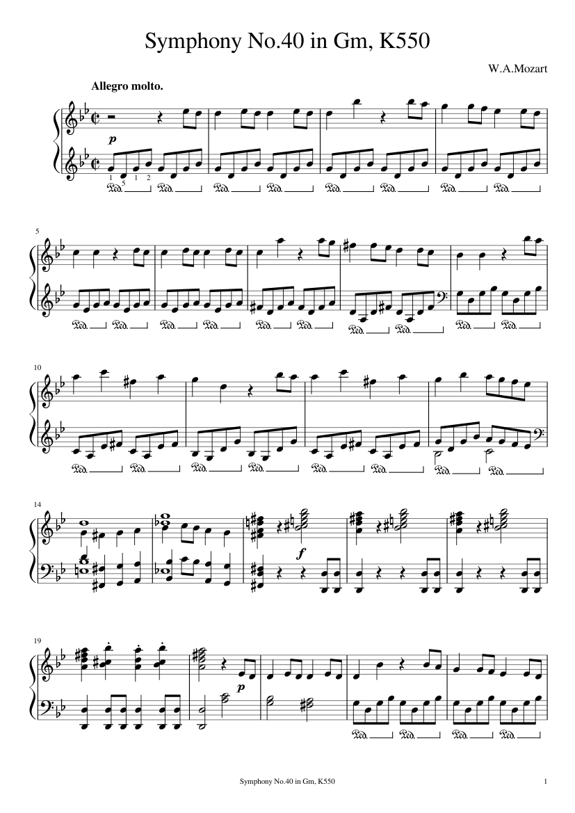 W.A.Mozart - Symphony No.40 in Gm, K.550 1st mvt Sheet music for Piano  (Solo)
