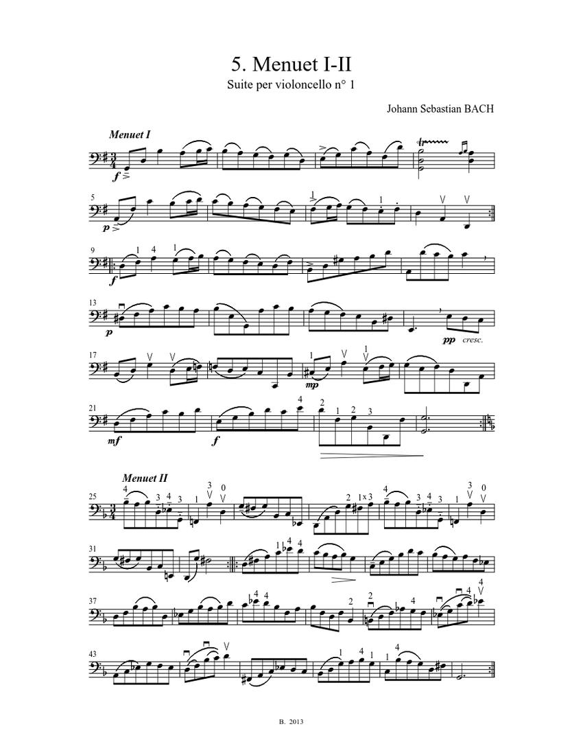 j. s. bach - cello suite n° 1 bwv 1007 - 5. menuet i-ii sheet music for  cello (solo) | musescore.com  musescore.com