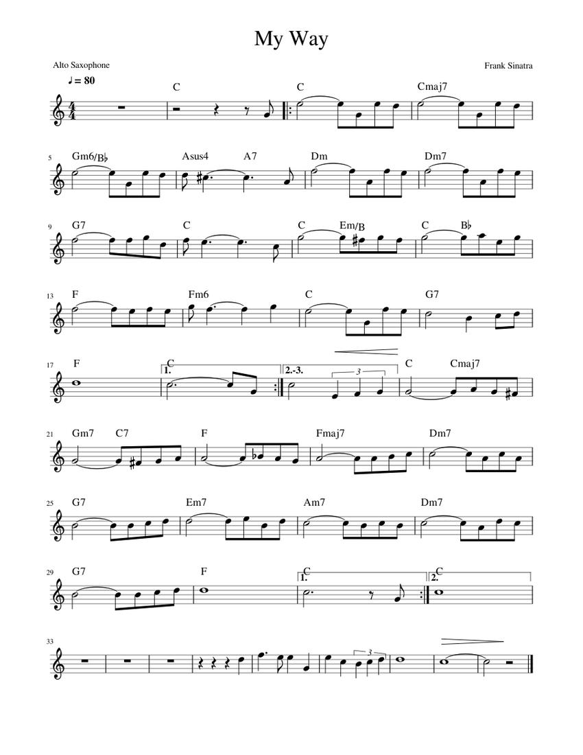 My Way Frank Sinatra Alto Saxophone Sheet Music For Saxophone Alto Solo Musescore Com