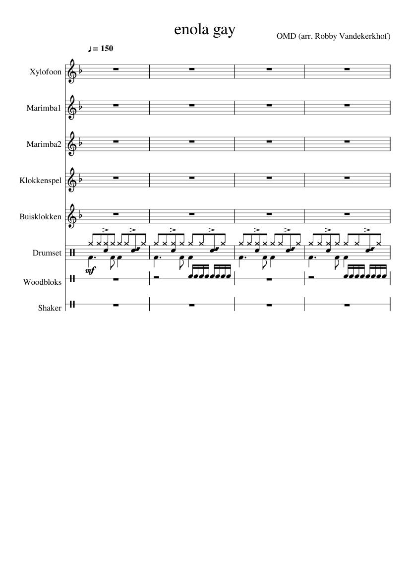 enola gay sheet music composed by OMD (arr. Robby Vandekerkhof) – 1 of