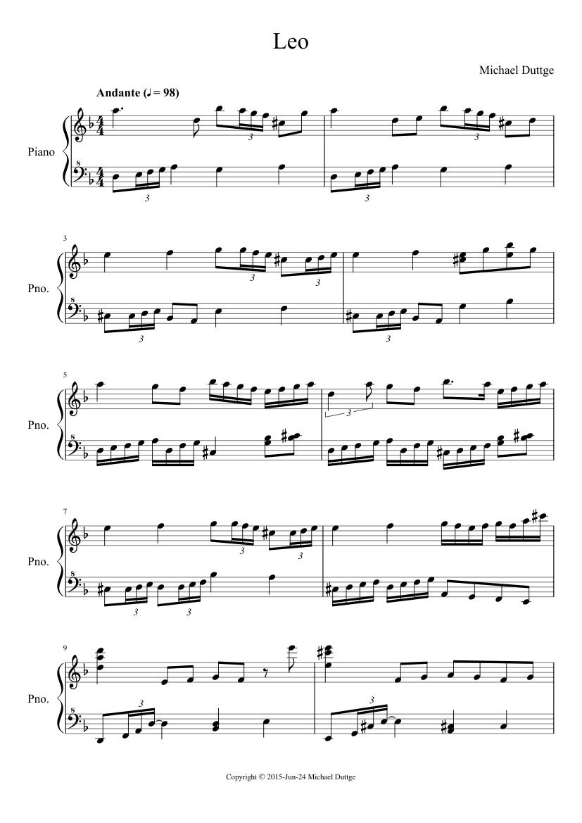 leo sheet music for piano download free in pdf or midi