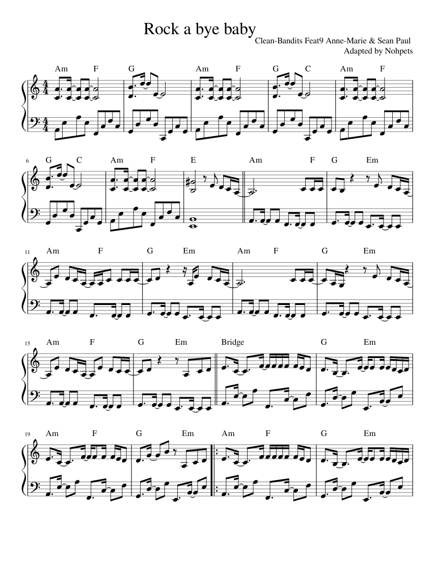 Clean bandits-rockabye sheet music for piano download free in pdf.