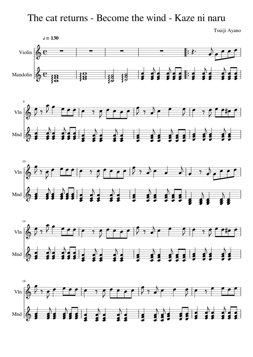 The cat returns - Become the wind - Kaze ni naru sheet music composed by Tsuiji Ayano – 1 of 2 pages