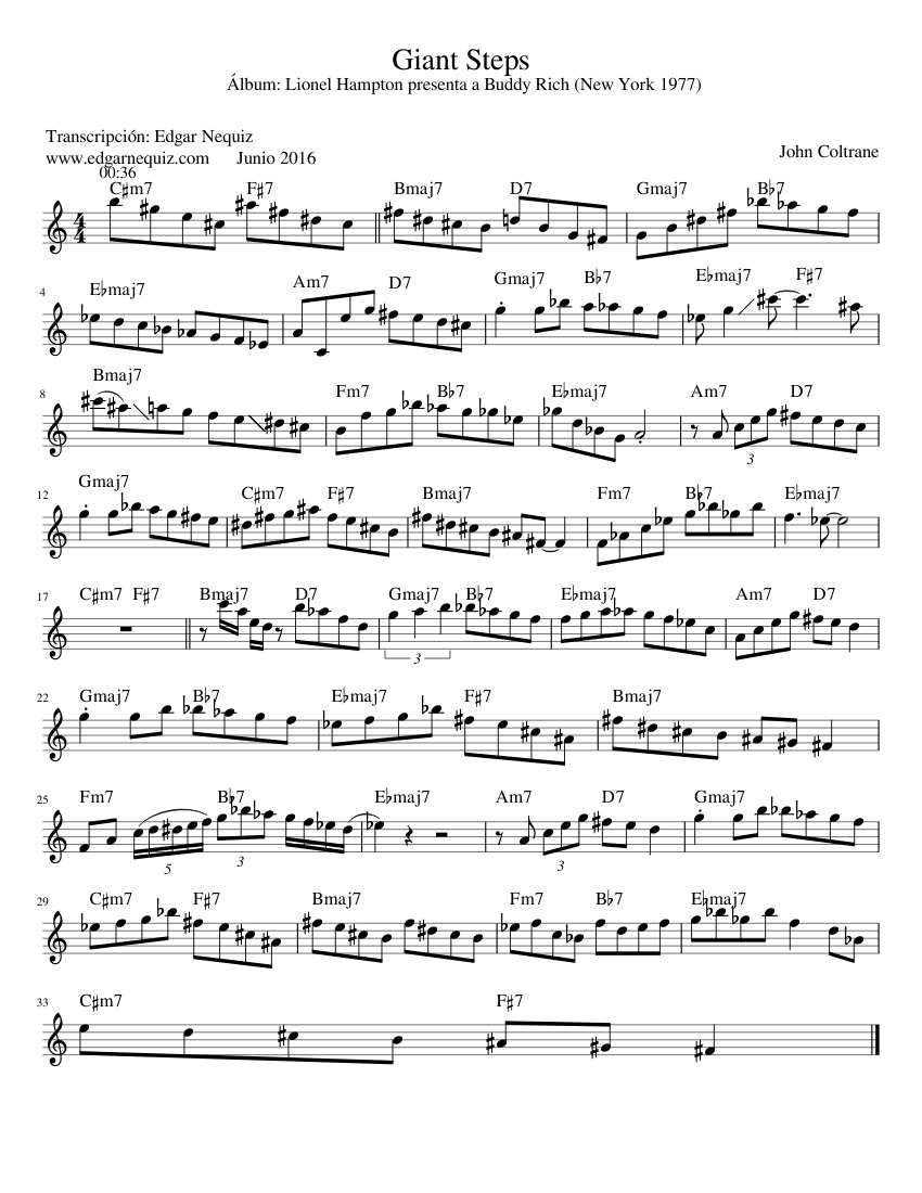 Giant Steps sheet music for Piano download free in PDF or MIDI