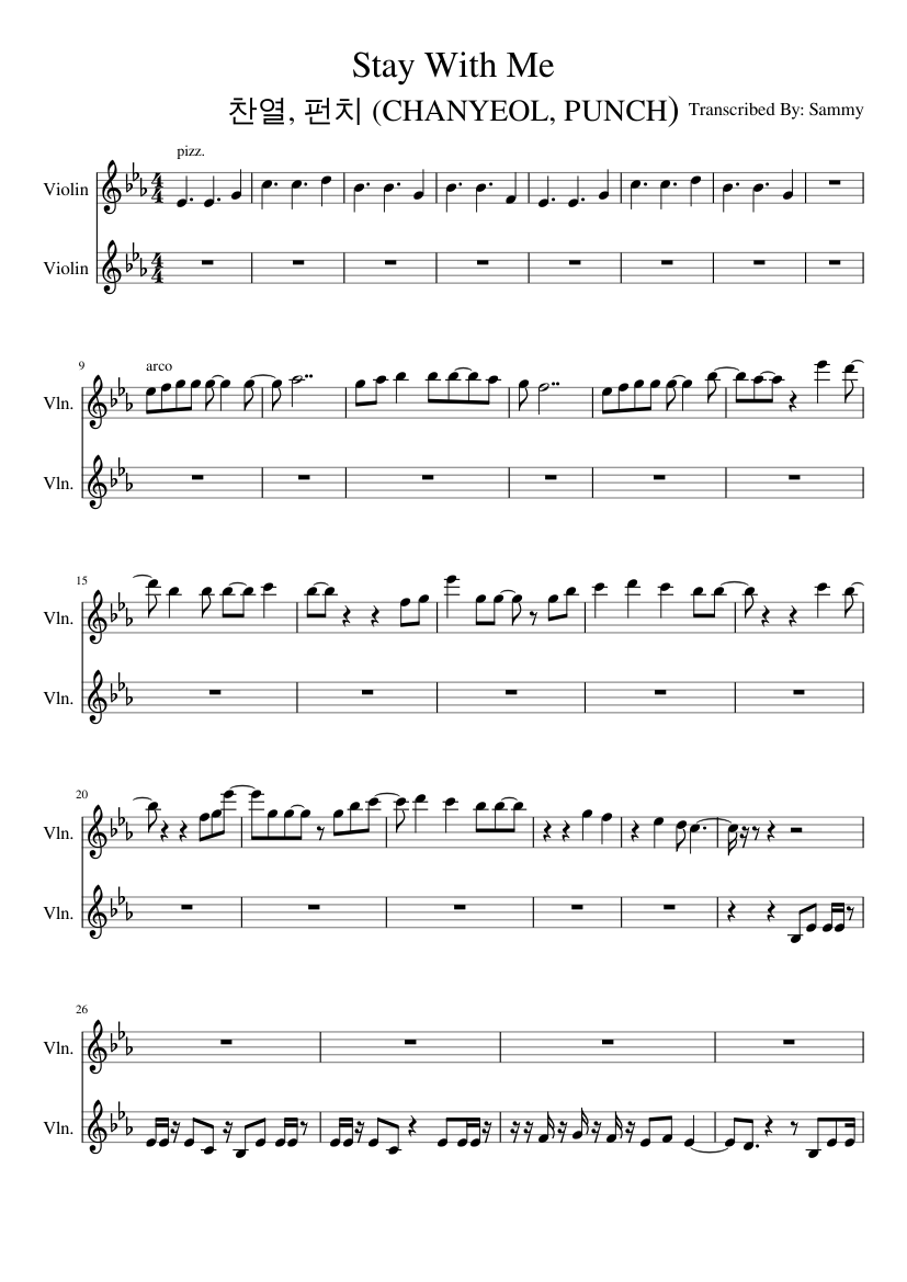 찬열 펀치 Chanyeol Punch Stay With Me Sheet Music For Violin String Duet Musescore Com