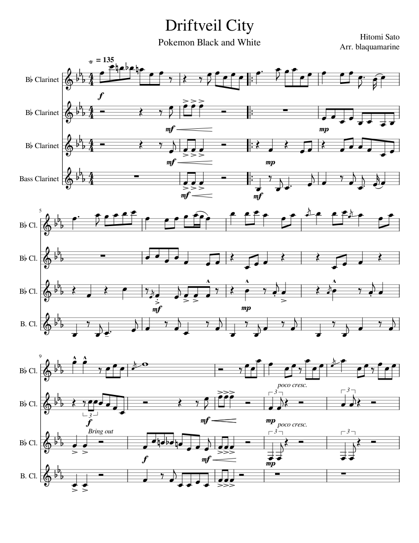 Driftveil City Clarinet Quartet Sheet Music For Clarinet In B Flat Clarinet Bass Mixed Quartet Musescore Com Welcome to another brawlgamemusic video! driftveil city clarinet quartet sheet