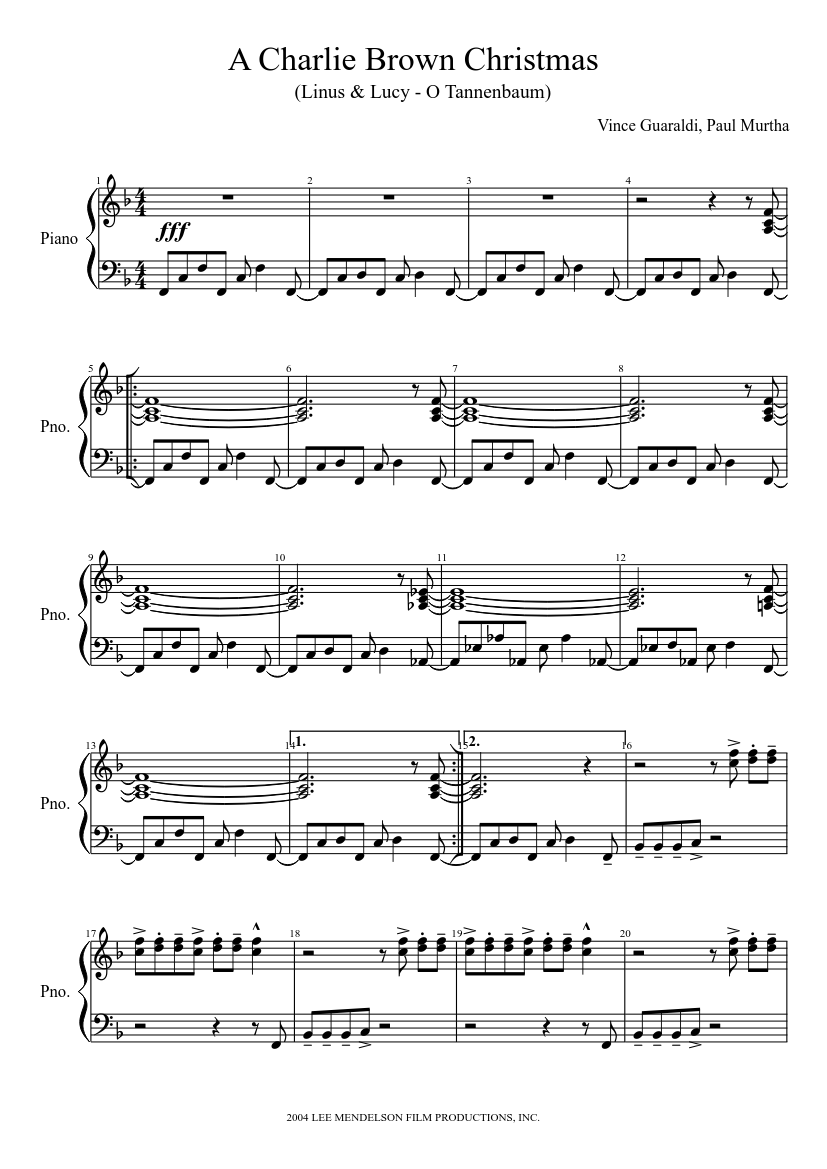 A Charlie Brown Christmas sheet music for Piano download free in PDF or MIDI