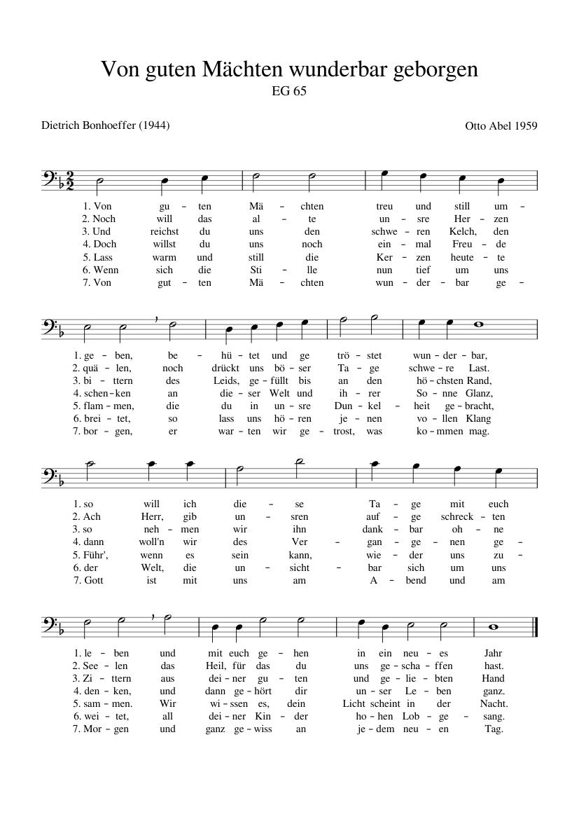 Von guten Mächten wunderbar geborgen EG 65 sheet music for