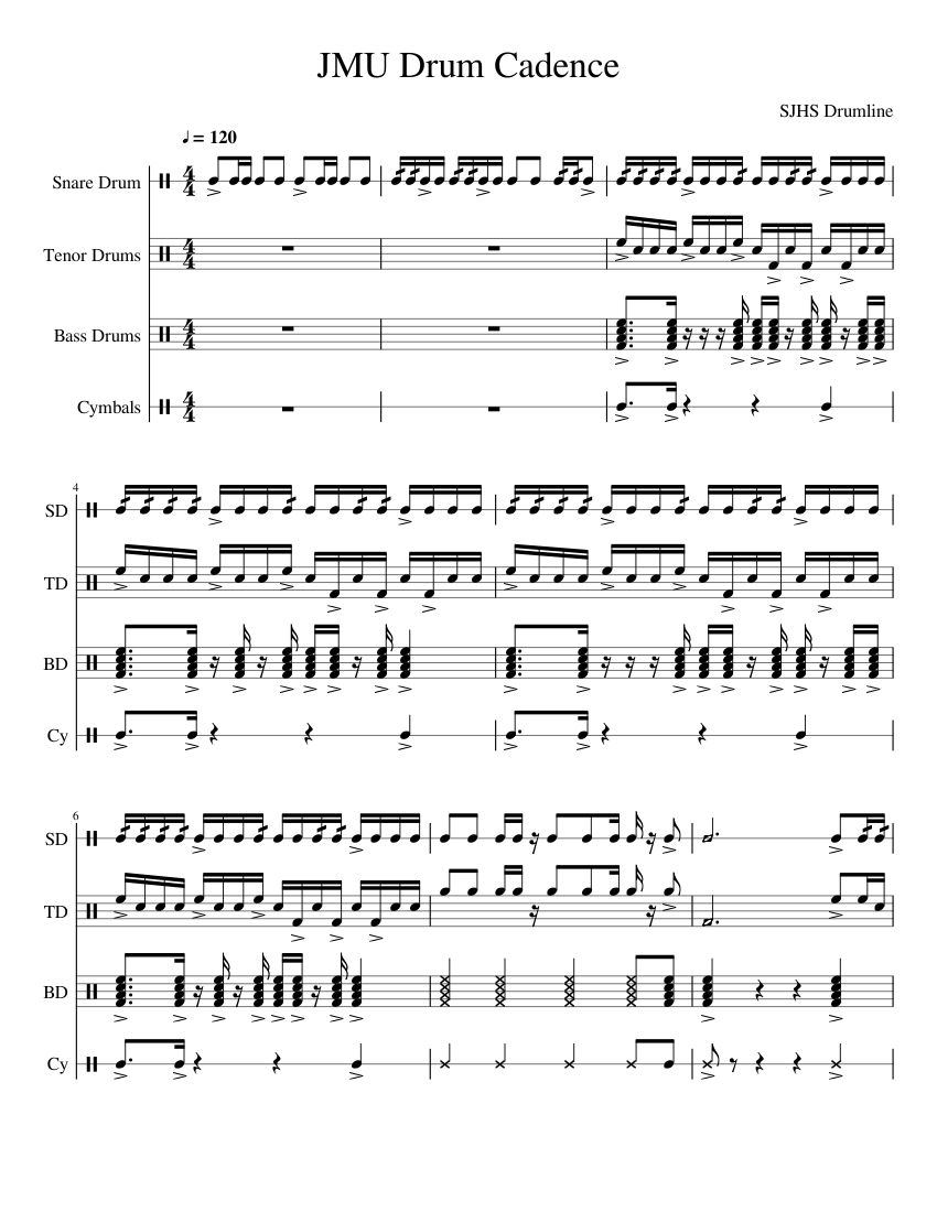 jmu drum cadence sheet music for percussion download free in pdf or midi