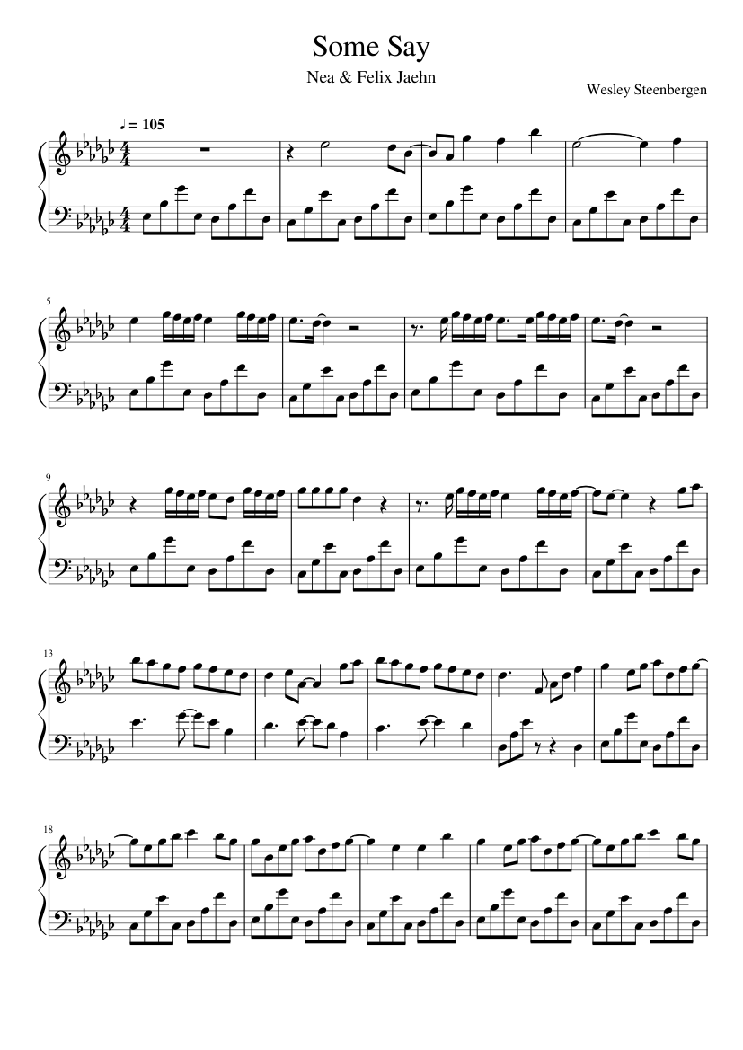 Nea Felix Jaehn Some Say piano sheets