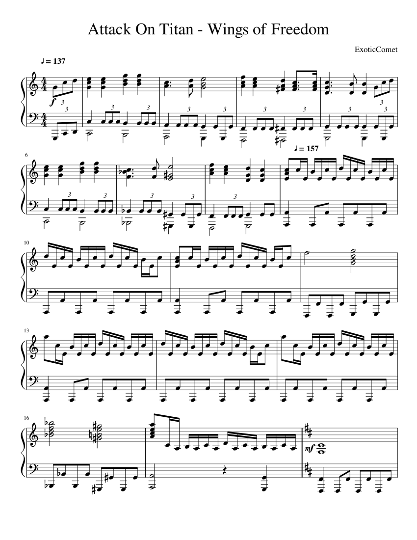 Attack On Titan Piano Sheet Music With Letters