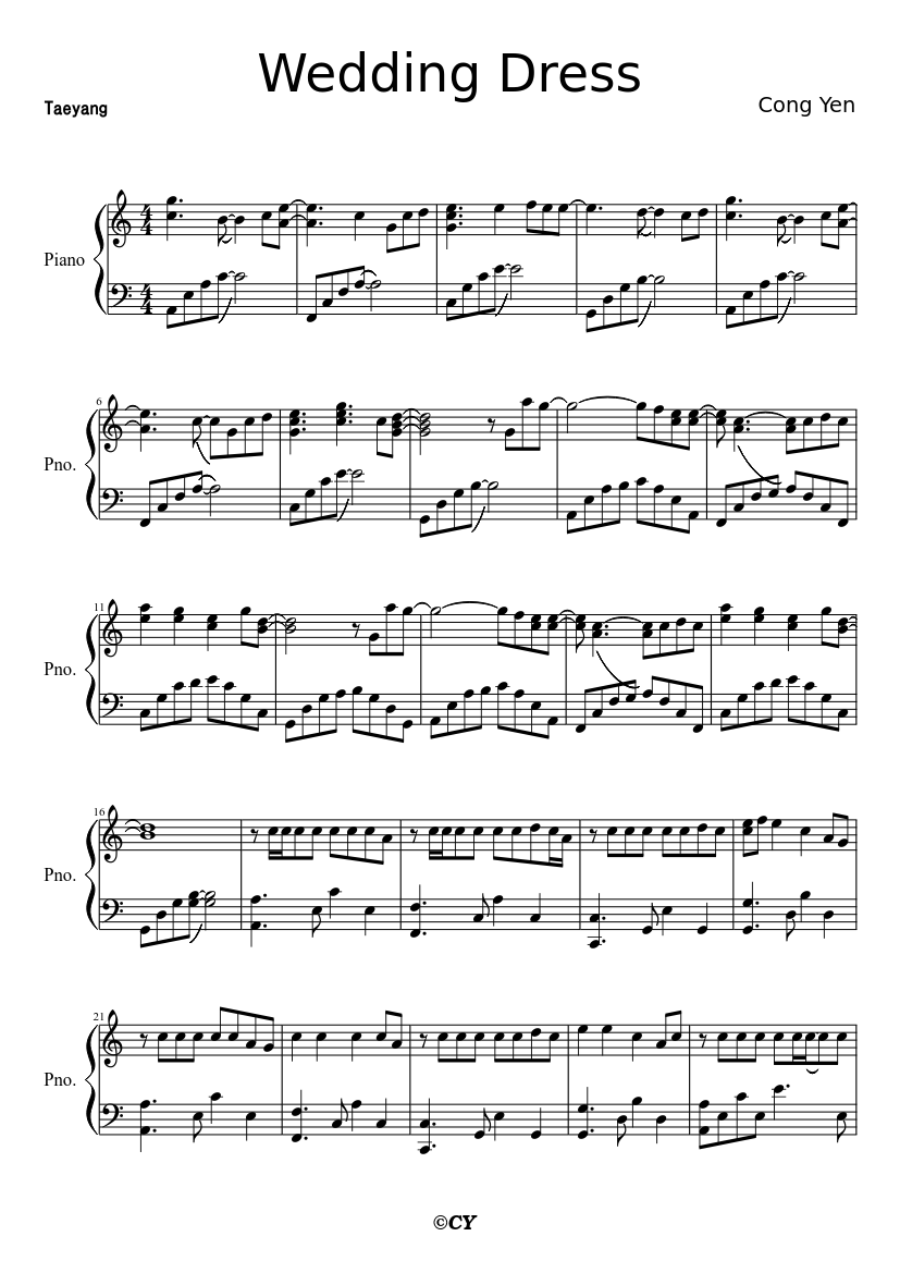 Wedding Dress Sheet Music For Piano Download Free In Pdf Or Midi
