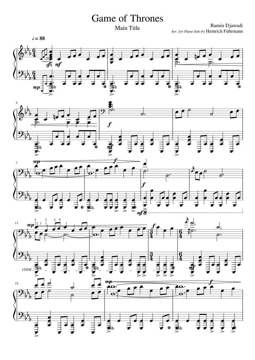 Game Of Thrones Titelmusik Klaviernoten game of thrones main piano sheet music for piano | download