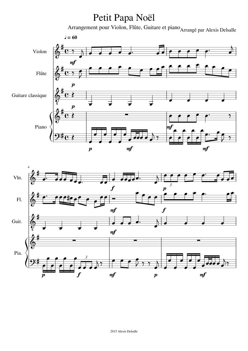 Petit Papa Noël Sheet Music For Violin Flute Piano Guitar