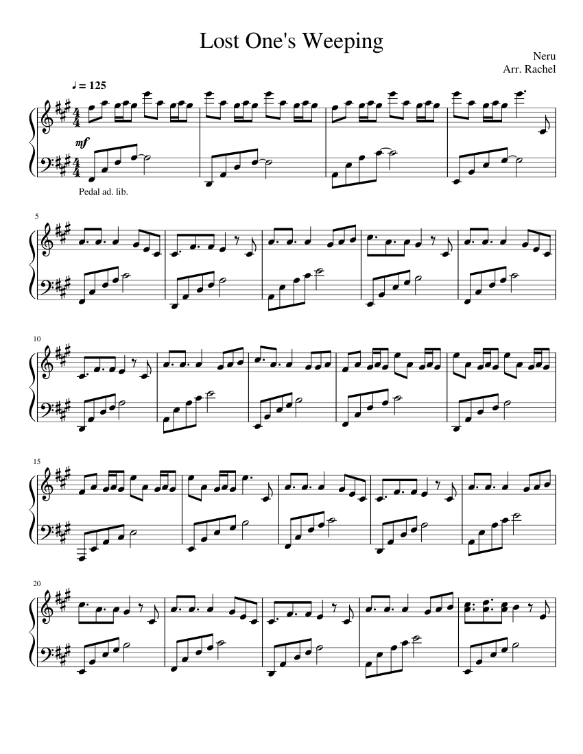 Lost One's Weeping sheet music composed by Neru Arr. Rachel – 1 of 5 pages