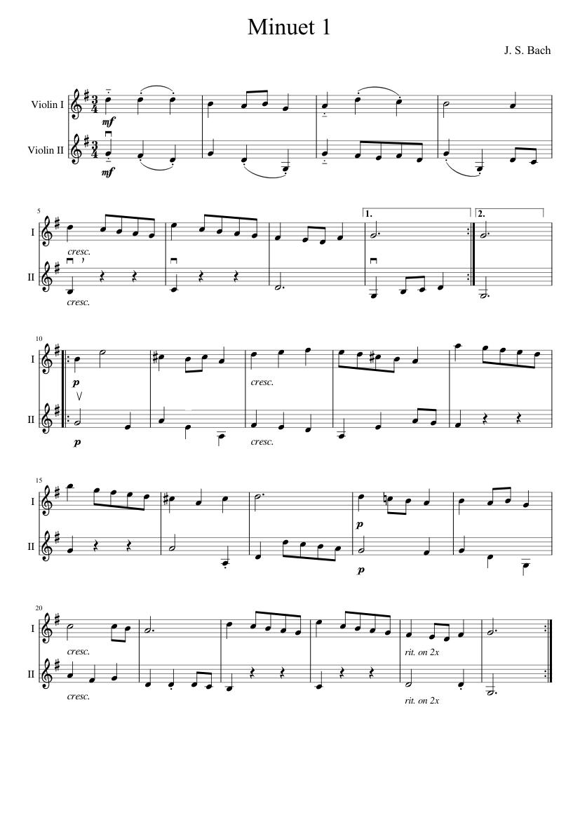 minuet 1 as duet for violins  suzuki book 1 sheet music