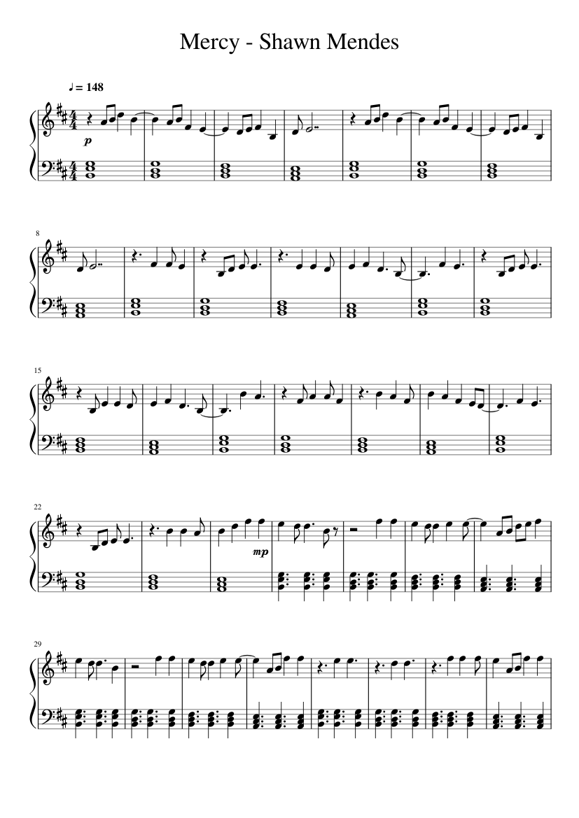 Mercy Shawn Mendes Sheet Music For Piano Download Free In Pdf Or Midi