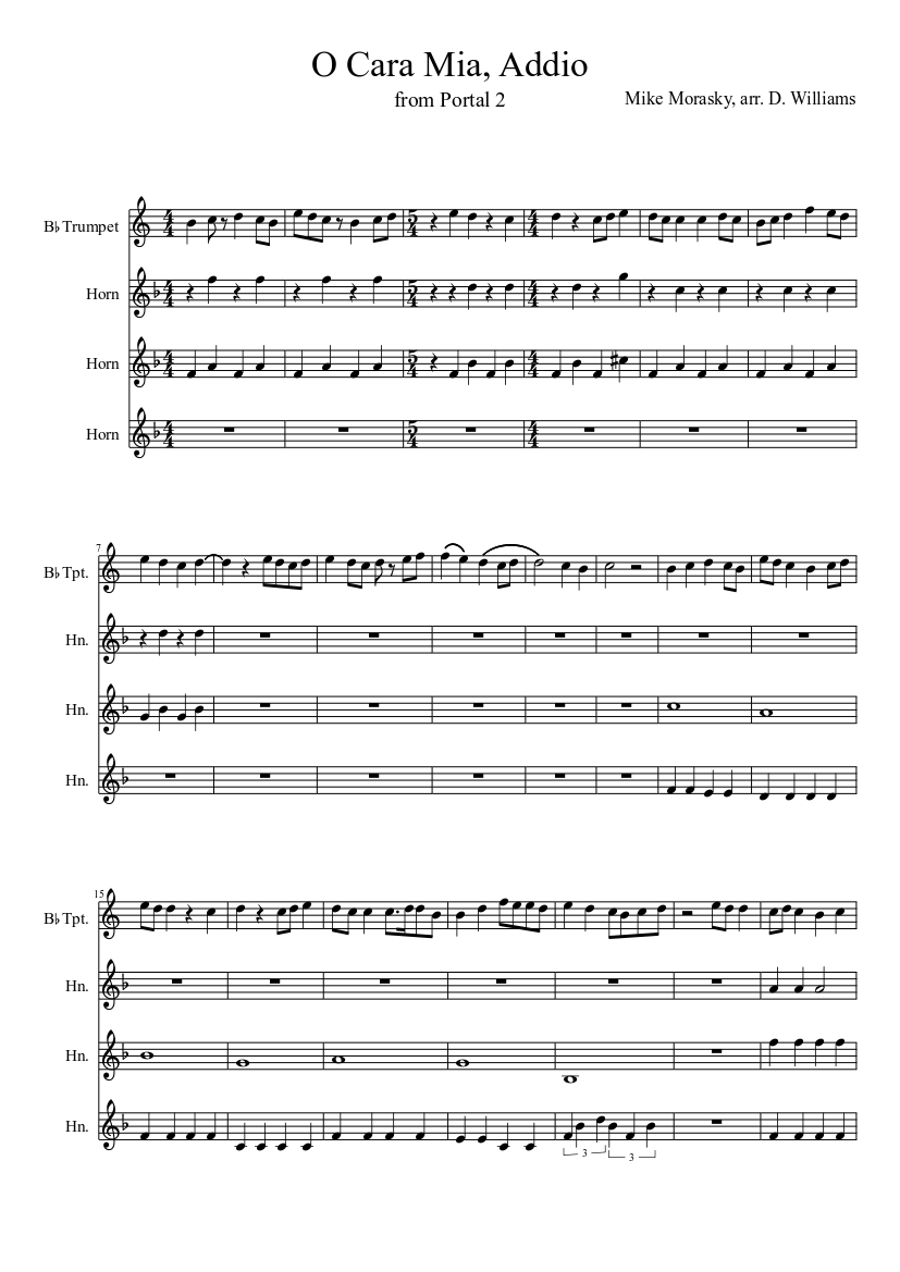 O cara mia addio (turret opera from portal 2) sheet music for.