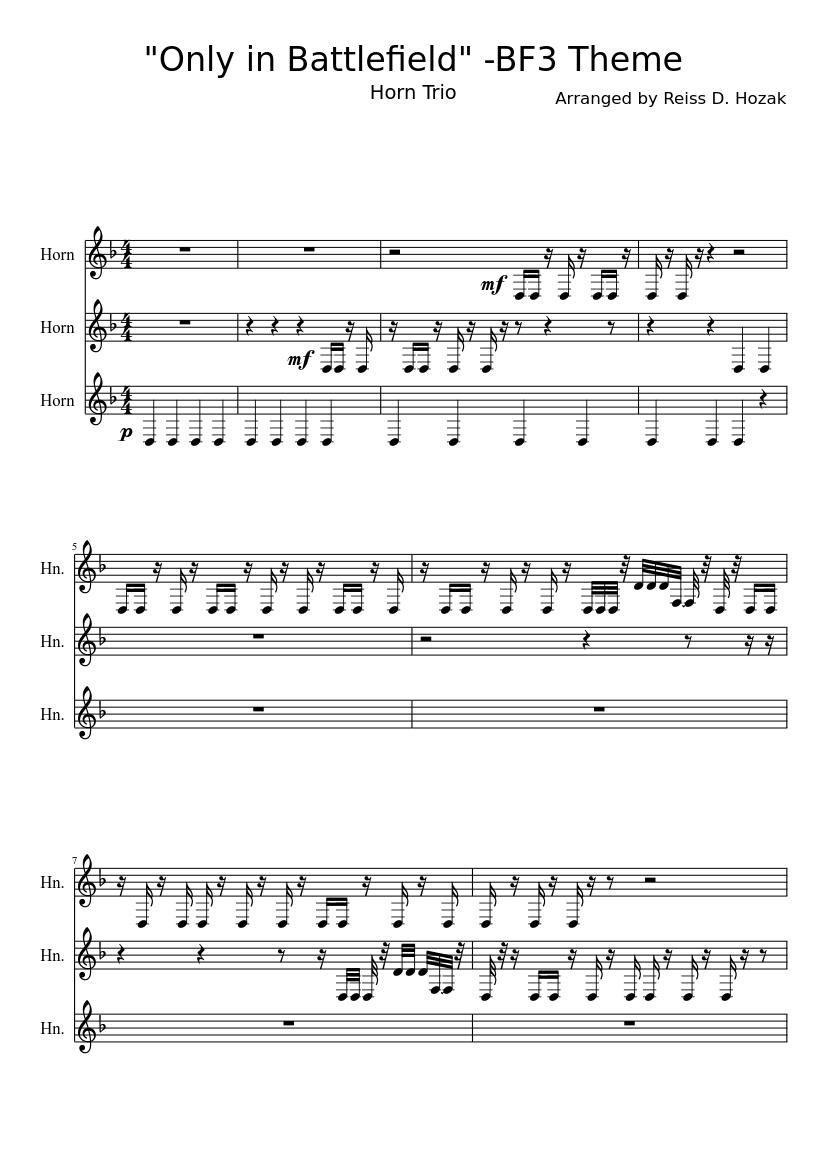 Theme battlefield 3 10 32 35 sheet music for piano, bass.
