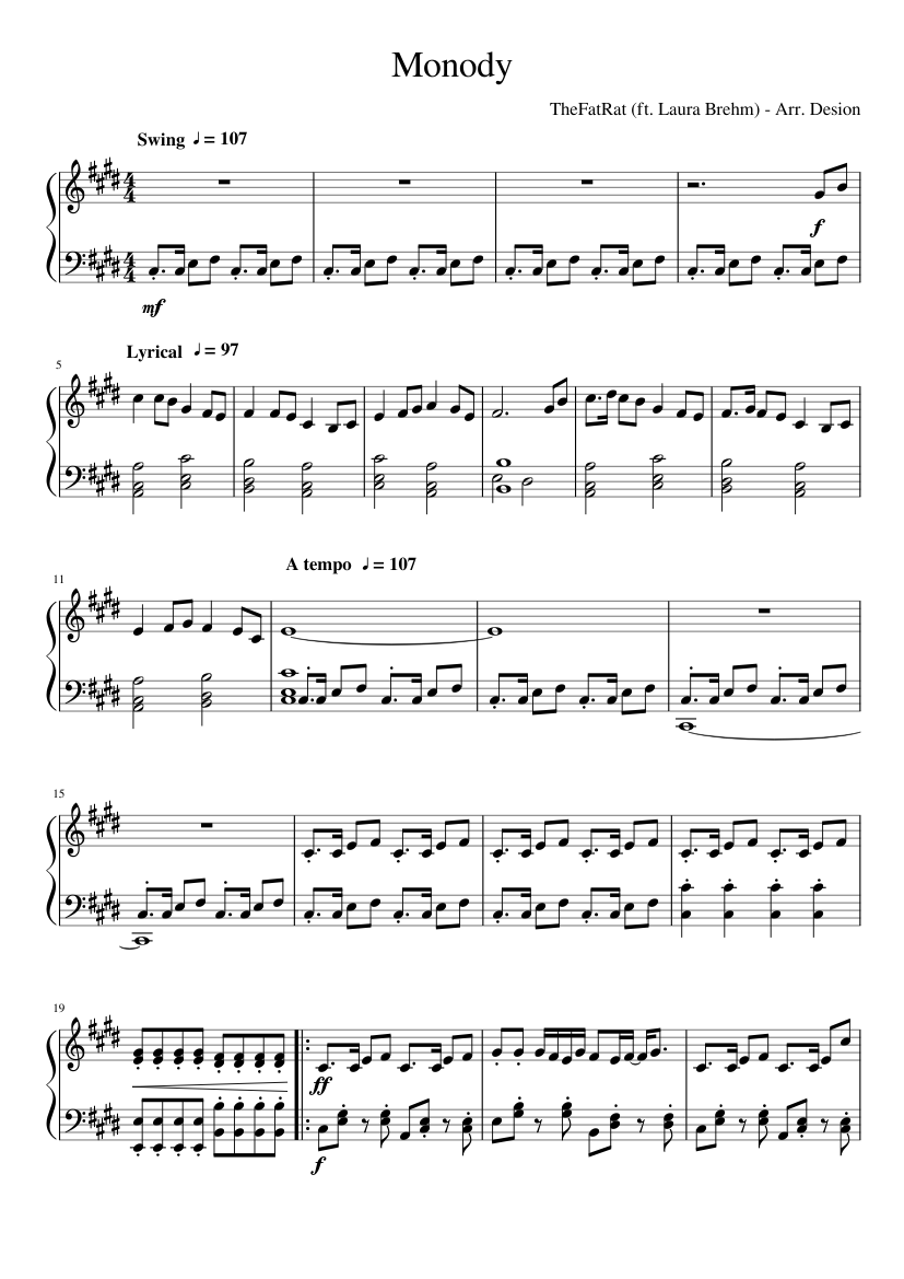 TheFatRat (ft. Laura Brehm) - Monody sheet music for Piano download free in PDF or MIDI