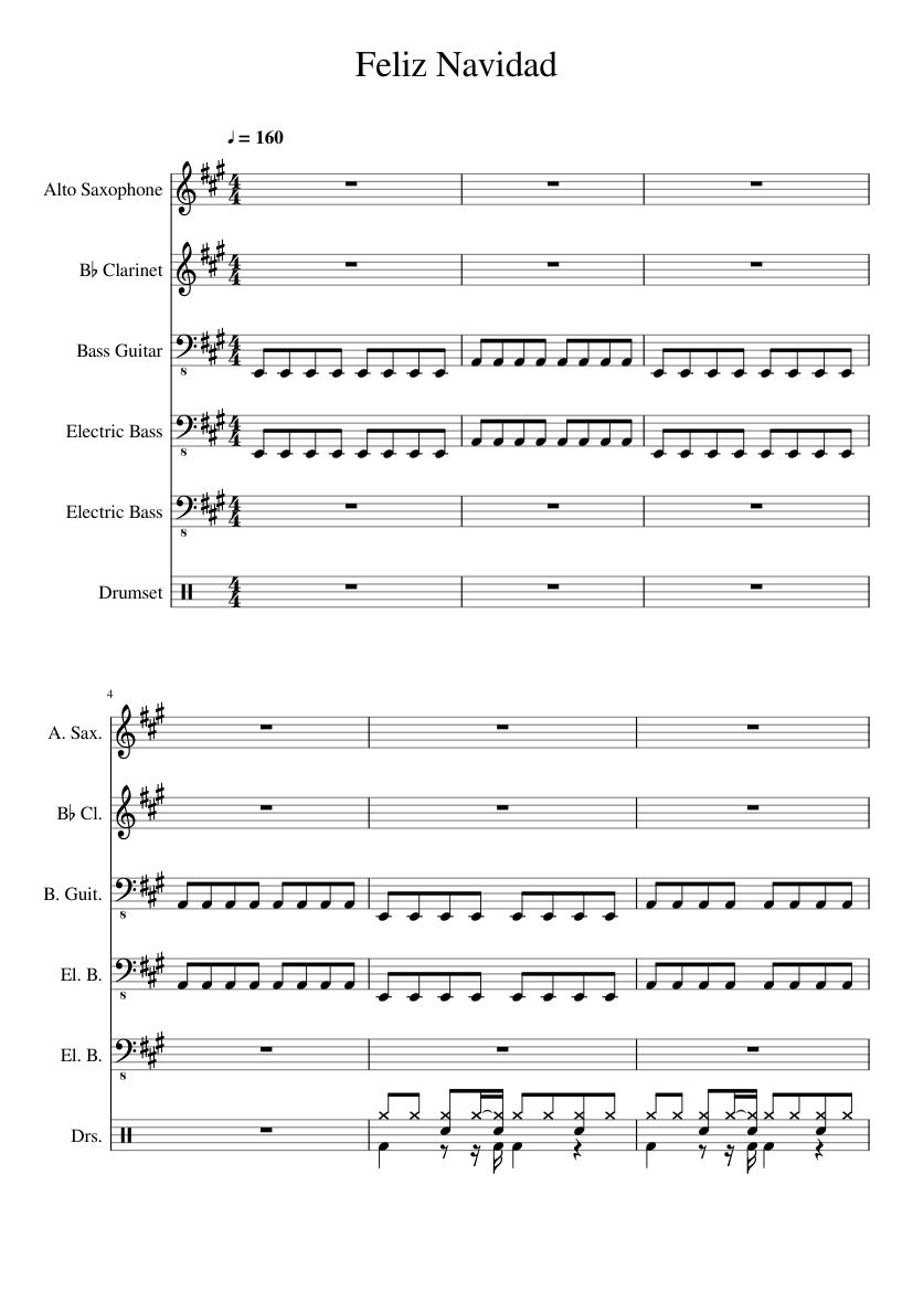 Feliz Navidad Clarinete.Feliz Navidad Sheet Music For Clarinet Alto Saxophone Bass