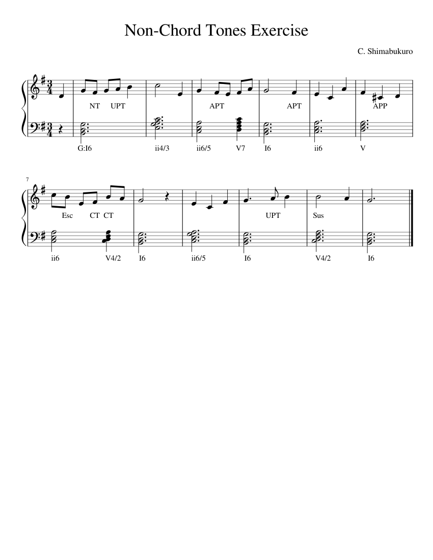 Non Chord Tones Exercise Sheet music for Piano Solo   Download ...