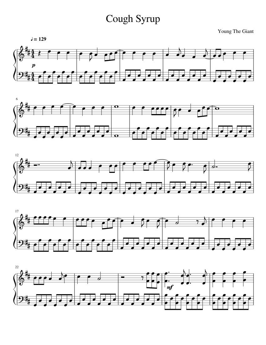 Cough Syrup by Young The Giant Sheet music for Piano Solo ...