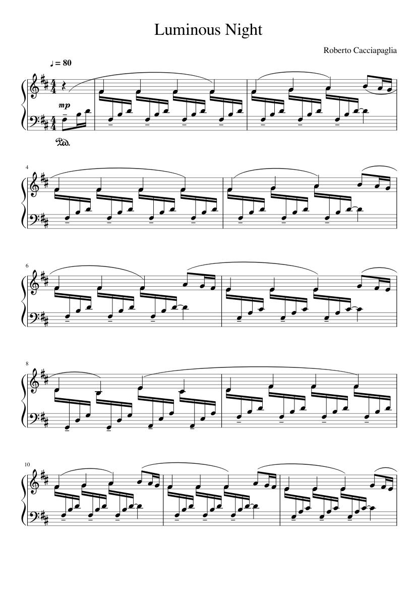 luminous night sheet music for piano (solo) | musescore.com  musescore.com
