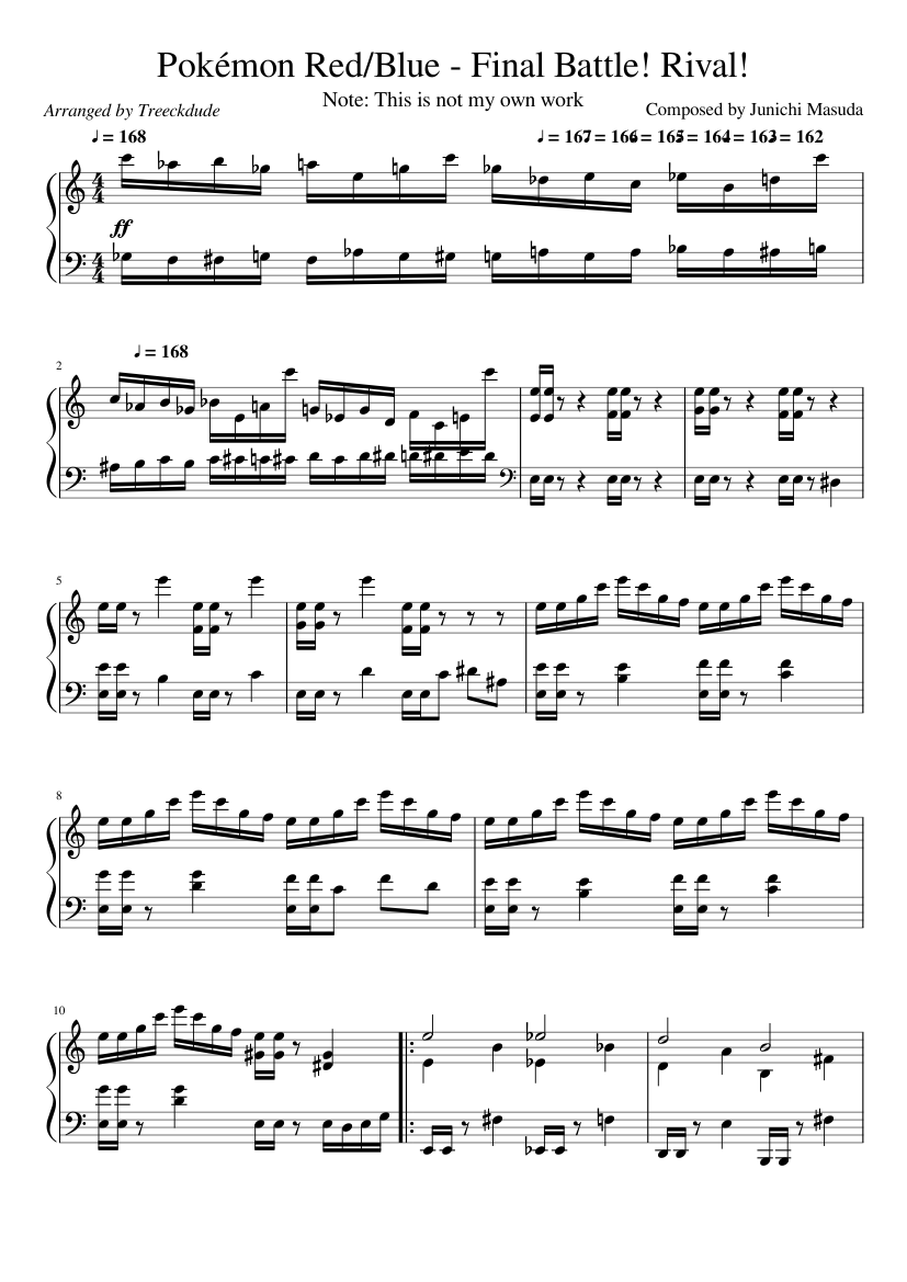 Pokémon Red/Blue - Final Battle! Rival! sheet music composed by Composed by Junichi Masuda – 1 of 3 pages