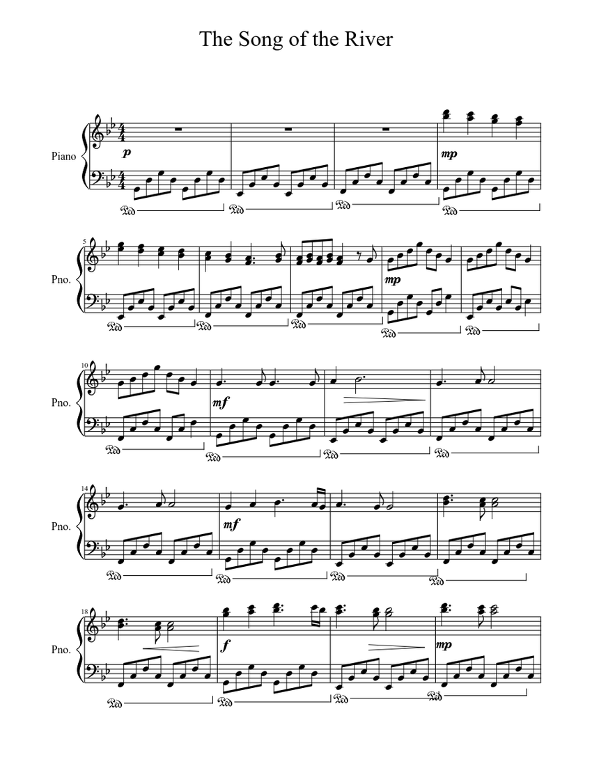 The Song of the River Sheet music for Piano (Solo)  Musescore.com