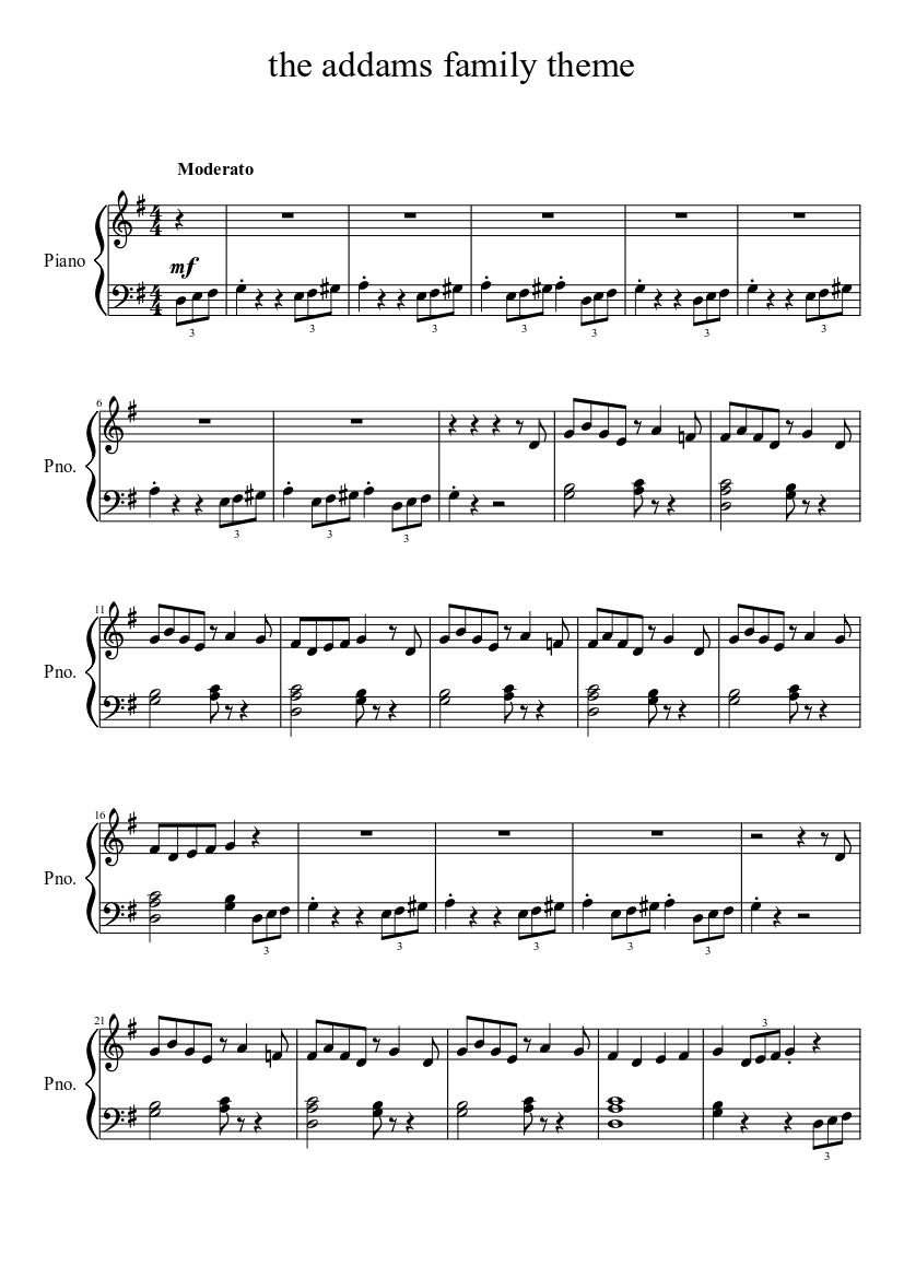 The Addams Family Theme Sheet Music For Piano Solo Musescore Com