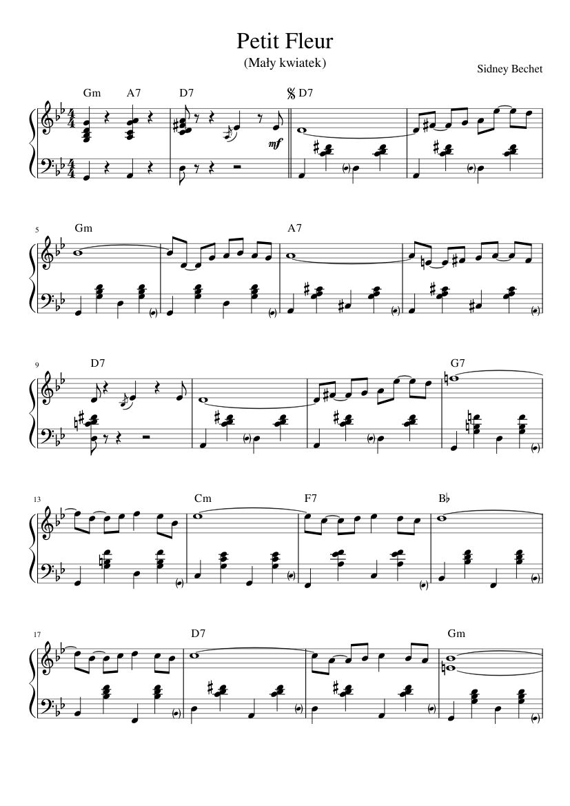 Petit Fleur Sidney Bechet Sheet Music For Piano Download Free In