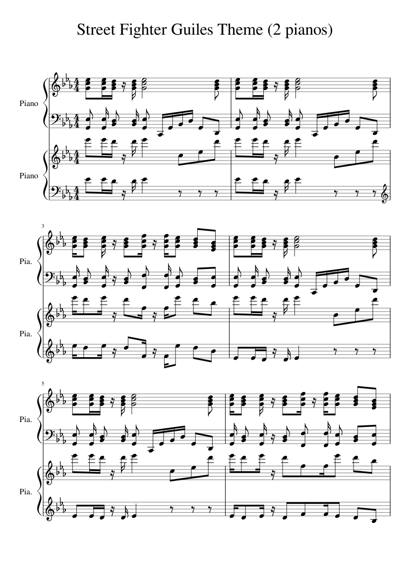 Madison : Street fighter guile theme piano sheet music