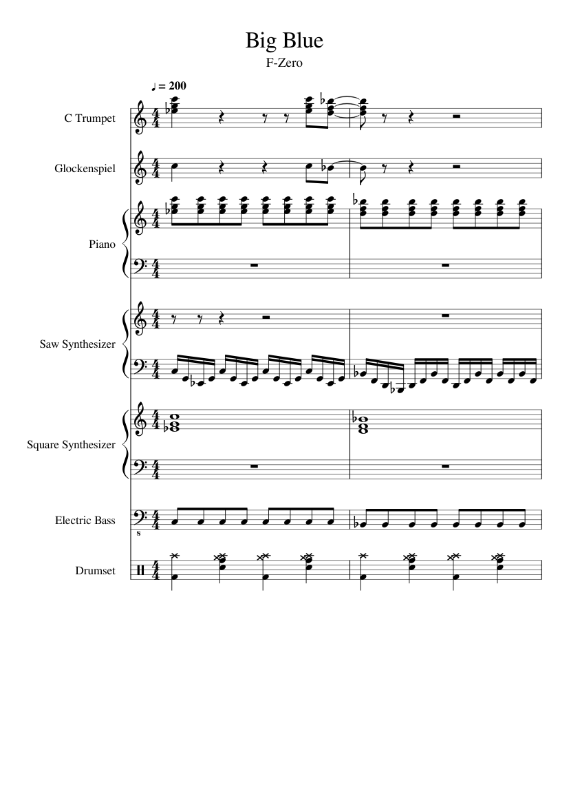 Big blue f-zero (for your listening pleasure only! ) sheet music.