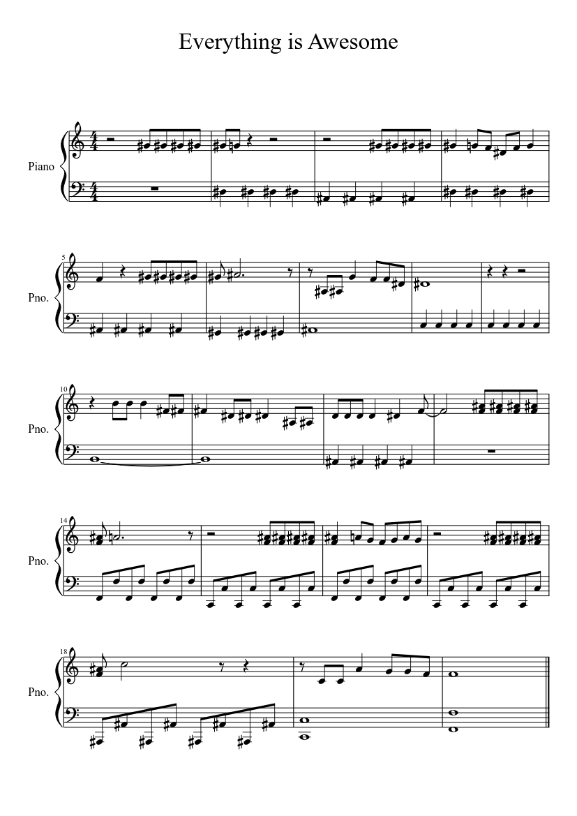 Everything Is Awesome Sheet Music For Piano Download Free In Pdf Or Midi Musescore Com