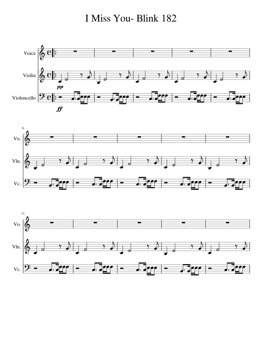 I Miss You   Blink 15 Sheet music for Violin, Cello, Vocals ...