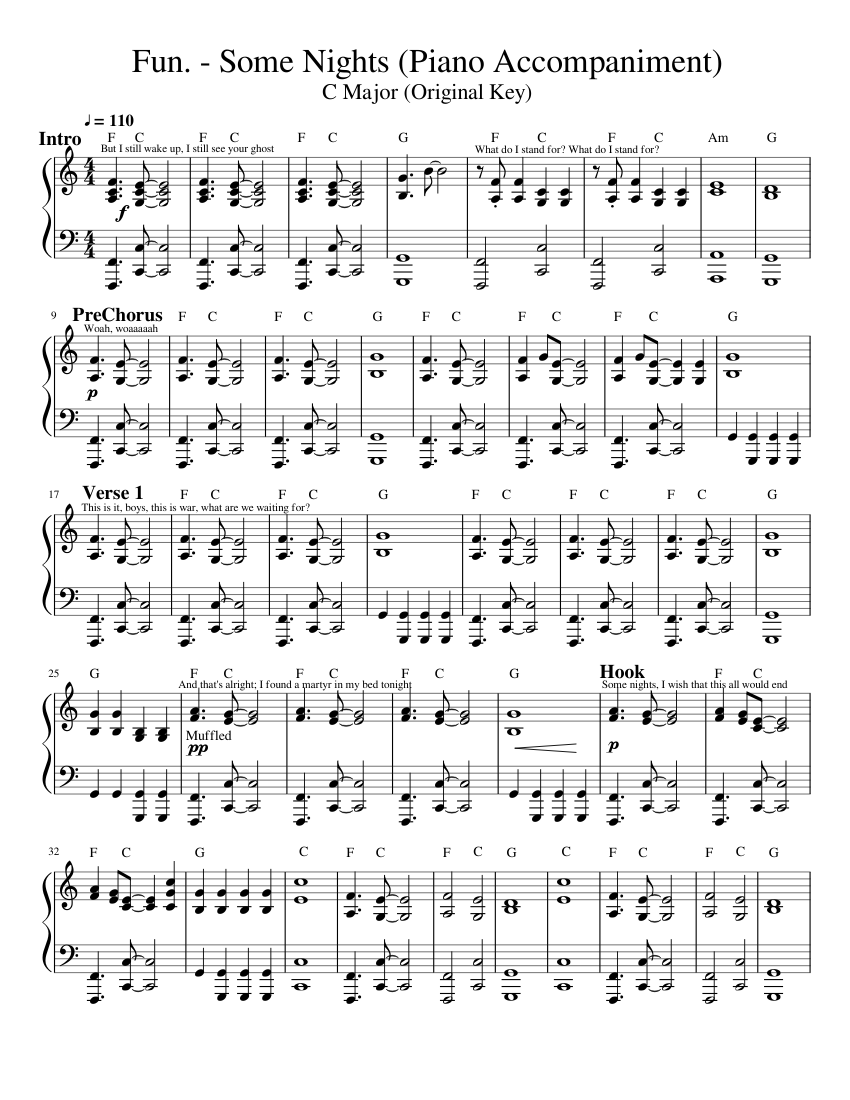 Fun. - Some Nights (Piano Accompaniment) sheet music for ...